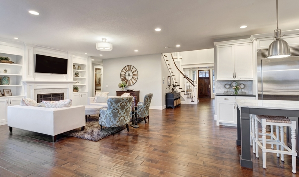 Panorama of Living Room in Luxury Home